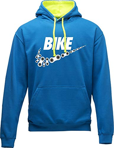 Hoodie: Neon Bike - Fahrrad Kapuzenpullover für Herren & Damen - Geschenk Radfahrer Radsport - Sweatshirt Mountain-Bike MTB Rennrad Tour - Sweater Outdoor Hoody Hooded Kapuze-n Pullover (Blau L)