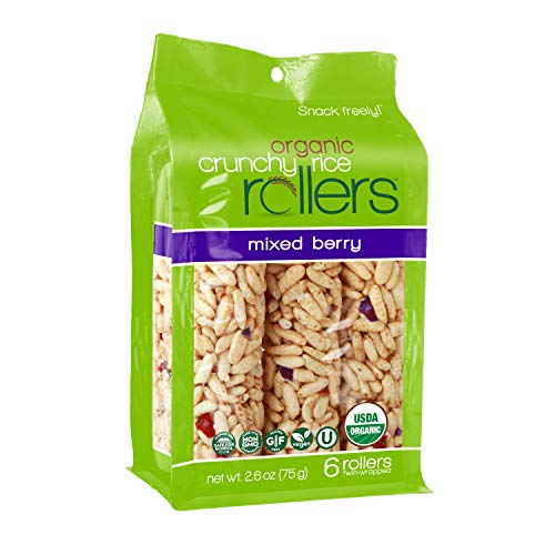 Crunchy Rice Rollers - Organic Snacks - Gluten Free - Allergy Friendly - Mixed Berry (4 Packs of 6 Rollers)