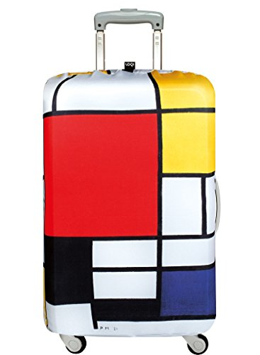 LOQI Museum Piet Mondrian Composition Red Yellow Blue And Black Luggage Cover, Size - Medium Organizer per valigie, 65 cm, Multicolore (Multicolour)