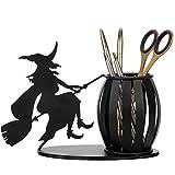MyGift Decorative Witch on Broomstick Metal Pen/Pencil Holder/Office Desktop Supplies Organizer