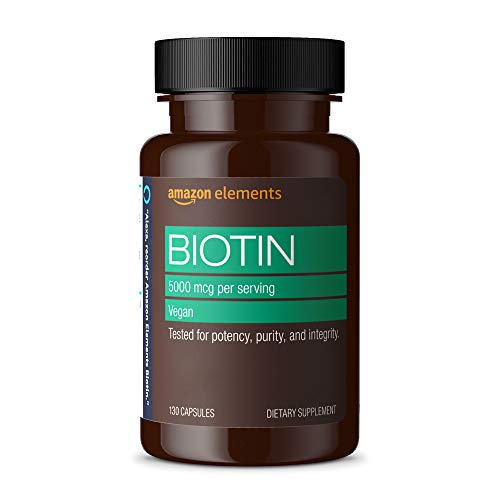 Amazon Elements Vegan Biotin 5000 mcg - Hair, Skin, Nails - 130 Capsules (4 month supply) (Packaging...