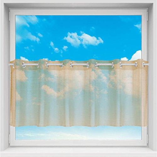 Transparant bistrogordijn voile met ogen, eenvoudige en moderne raamdecoratie in vele maten verkrijgbaar