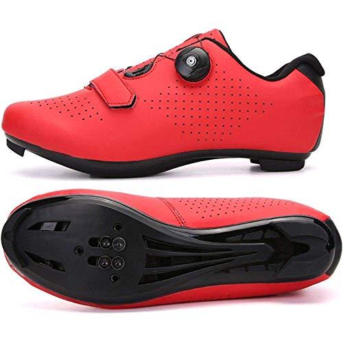 Zapatillas de ciclismo para bicicleta de carretera de hombre, con hebilla giratoria, para conducción en carretera, zapatillas de bicicleta con pedal antideslizante, transpirables (rojas), Rojas, 38 EU