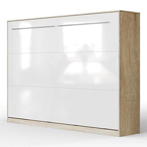 SMARTBett Standard Schrankbett 140x200 Horizontal Eiche Sonoma/Weiss Hochglanzfront mit Gasdruckfedern | ausklappbares Wandbett, ideal geeignet als Wandklappbett fürs Gästezimmer, Büro, Wohnzimmer