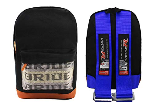 New Bride Racing Backpack with TYPE R Racing Harness Shoulder Straps Blue