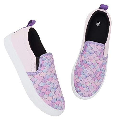 Alpargatas Zapatos para Niña Zapatillas Casual Caminar Ponerse Zapatos de Verano (Morado Sirena,32 EU)