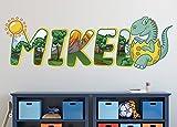 Dinosaur Egg Wall Decal, Custom Name, Dino Live Nursery Wall Sticker, 3D Print Wallpaper, Cute Dinosaur Home Decor Bedroom, Wall Art Smash KA768 (Medium 38 W x 14 H I)