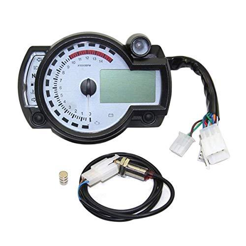 outingStarcase Motocicleta Universal Digital odómetro LCD Ajustable tacómetro velocímetro, Piezas de Recambio Accesorios for Motos