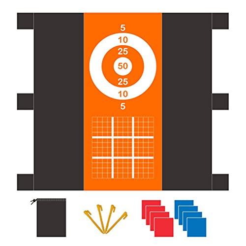 Ysoom Couverture de Plage étanche au Sable, Couverture de Jeu de Lancer de 1,6 * 1,6 m avec Ensemble de Jeux de Lancer de Pouf, Tapis de Plage Portable pour Le Voyage