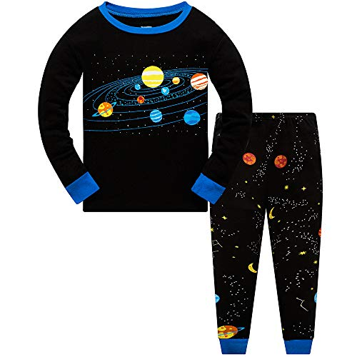Little Boys Pajamas for Toddler Clothes Set Planet Train Sleepwear Long Sleeve 100% Cotton 2 Piece Kids Pjs Size 1-10 Years