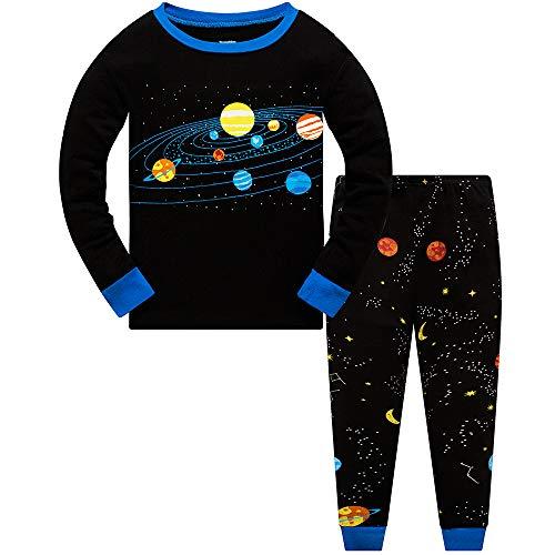 Jungen Pyjama-Set Dinosaurier leuchtet im Dunkeln, Kleinkind-Kleidung, Kinder-Pjs, 100% Baumwolle, Nachtwäsche, langärmelig, 2-teiliges Outfit, 1 bis 10 Jahre Gr. 6-7 Jahre, A-Planet