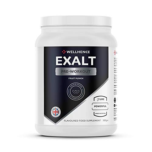 Exalt Pre-Workout with Citrulline Malate, Caffeine, Beta-Alanine, Taurine, AKG and BCAA   32 Servings   N.O. Production   WellHence Nutrition   Fruit Punch