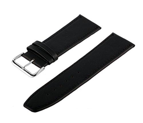 TimeStore24 Uhren Lederarmband Schwarz 19 mm Uhrenarmband Uhrband Uhrenbänder