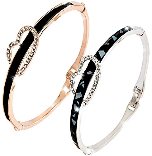 Gold Silver Heart Bangles Bracelets for Womens - Highly Elegant, Standout Piece - Quality Inlay - British Design - With Gift Box + Polishing Cloth - U.K Jewellers, U.K Quality
