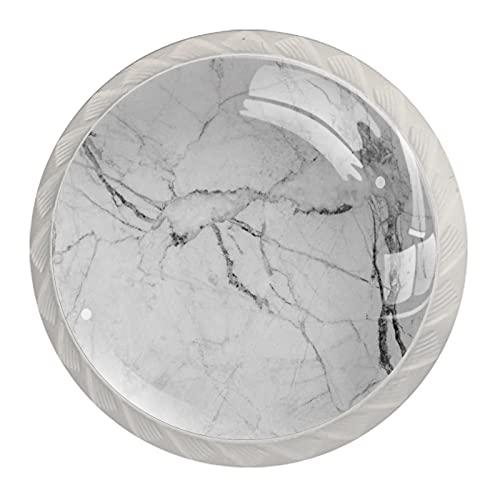 (4 piezas) pomos de cajón para cajones, tiradores de cristal para gabinete con tornillos para armario, hogar, oficina, armario, grieta de mármol blanco de 35 mm