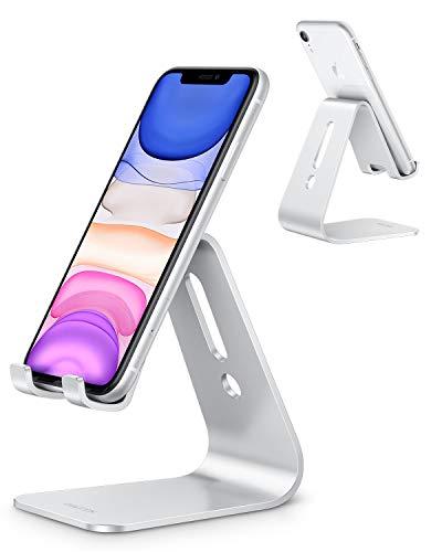 OMOTON Handy Ständer, Aluminium Handy Halter für Video/Büro, Tisch Handy Halterung kompatibel mit iPhone 12/iPhone 11 Pro/Xs Max/Xr/SE/8/7/6, alle 3.5-7 Zoll Android-Smartphones und Switch, Silber