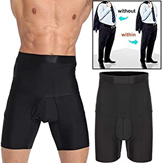 Men Tummy Control Shorts High Waist Slimming Underwear with Open Fly Body Shaper Belly Girdle Boxer Briefs butt lift panties (Color : Black, Tamaño : S)