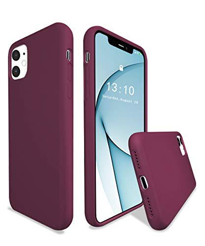 K TOMOTO Compatible with iPhone 11 Case, Full Body Liquid Silicone Gel Rubber Drop Protection Case Shockproof Armor Bumper Cover Protective Phone Case for iPhone 11 6.1 Inch 2019, Wine Red