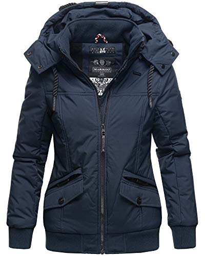 Marikoo Winter Jacke Damen Outdoor Winterjacke mit Kapuze XS - XXL SMKO (L, Navy)