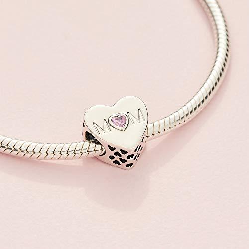 Pandora Moments Pink Mum Heart Charm Sterling Silver 791881PCZ