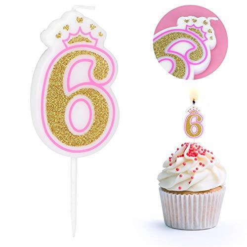 LZKW Velas de Pastel de números de 0 a 8 años, Vela de cumpleaños, Velas de números, Recuerdos de Fiesta para Fiestas temáticas, Suministros para Fiestas(6)