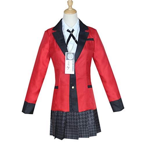 Noe Disfraz de Kakegurui Runa Yomozuki, Trajes Cosplay Jabami Yumeko para Anime Japonés, Conjunto de Disfraz Escuela Niña Uniforme Roja Capa Camisa Falda Plisada Calcetín, XL