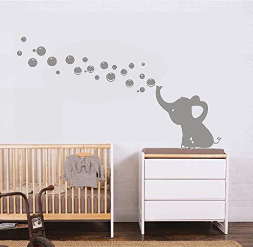 MAFENT Un Adorable Elefante Soplar Burbujas Wall Decal Vinilo Etiqueta de la Pared Para Cuarto de Niños Bebe Habitación Decoraciones (Gris,Izquierda) ✅