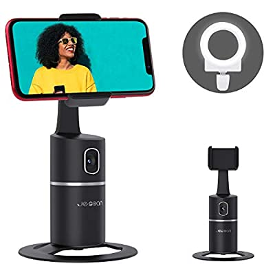 Auto Face Tracking Tripod, 360° Rotation Phone Camera Mount with Selfie Ring Light, No App, Battery Operated Smart Shooting Holder for Live Vlog from JESBAN