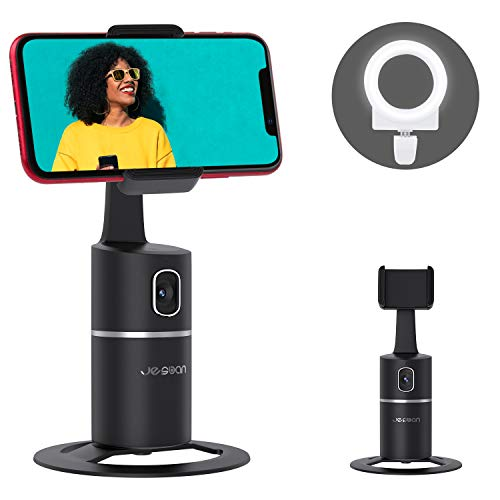 Auto Face Tracking Tripod, 360° Rotation Phone Camera Mount with Selfie Ring Light, No App, Battery Operated Smart Shooting Holder for Live Vlog (Black)