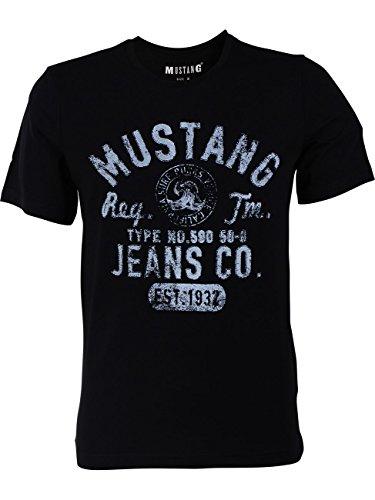 MUSTANG Herren T-Shirt Rundhals Kurzarm Logo Print Baumwolle Schwarz Weiß Blau Grau S M L XL 2XL 3XL, Größe: XL, Ausführung: EST.1932 (Black)