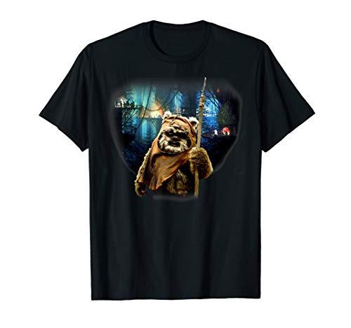 Star Wars Ewok In Front Of Village Portrait T-Shirt