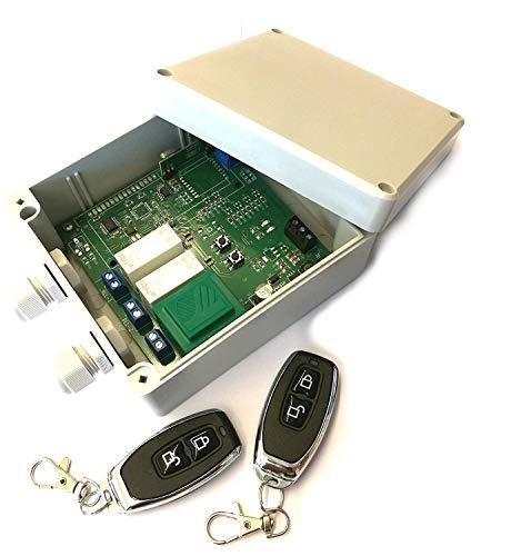 Funk Set 2x Handsender + Empfänger 433MHz Keeloq universal 2 Kanal 230V / 16A Garagentorsteuerung, Torsteuerung, Antriebssteuerung, Lampensteuerung, Impulsgeber, Mono- und Bistabil, Seilwindenfunktion