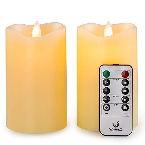Velas sin llama, D3'' x H5'', 2 unidades, velas de cera real, luces de noche LED, 3 pilas AAA, mando a distancia, temporizador de 2/4/6/8 horas, parpadeo de llama, velas realistas...