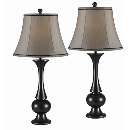 Best, Beautiful and Unique Metallic Bronze 2-piece Resin Indoor Lamp Set with Silver Taupe Metal Bell-shaped Shades. (Perfect for Use on Your Nightstands or End Tables; Living Room or Bedroom)