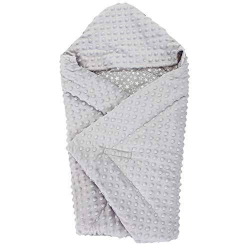 TupTam Baby Winter Einschlagdecke für Babyschale Wattiert, Farbe: Sternchen Weiß/Grau, Größe: ca. 75 x 75 cm