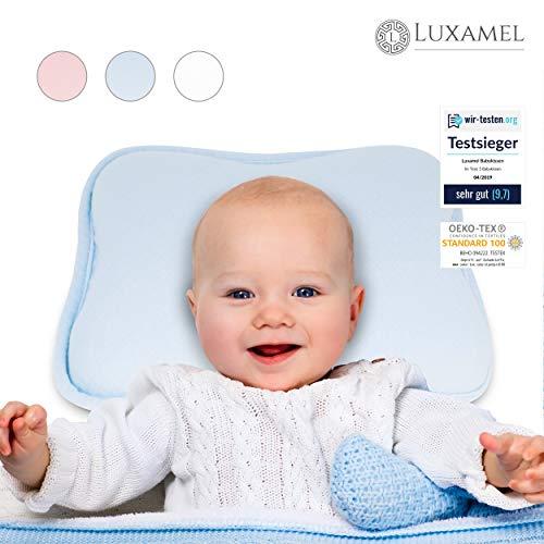 Luxamel | TESTSIEGER Orthopädisches Babykissen blau | Ergonomisches gegen Plattkopf und Verformung | Für Säuglinge und Kleinkinder | 100% Schadstofffrei