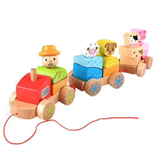 Best Price Xuways Toys Adorable Wooden Pull Train Toy for Girls and Boys Toddler (A)