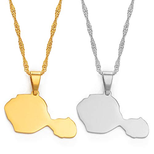 XXFF Women's Map Pendant Necklace,Tahiti Map Pendant Necklaces for Women Girls Gold Color/Silver Color French Polynesia Jewelry Gifts,Sliver,45Cm Thin Chain