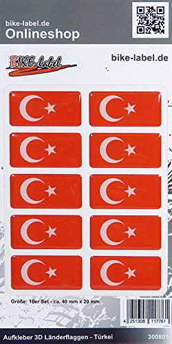 Bike Label 300801N Aufkleber 3D Länder-Flaggen Türkei Turkey 10 Stck je 40 x 20mm