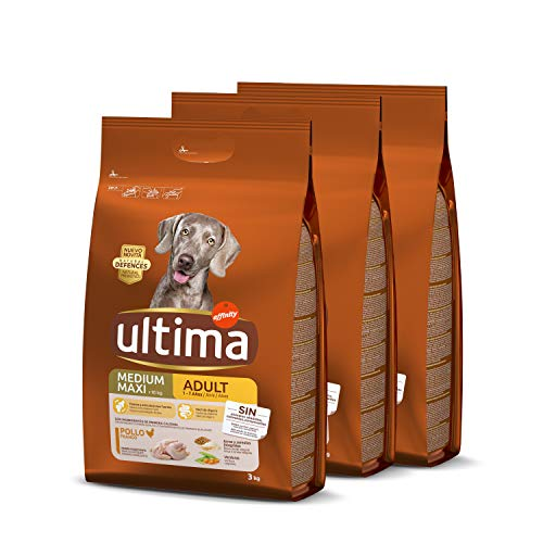 ultima Pienso para Perro Medium-Maxi Adulto con Pollo, Pack de 3 x 3 kg - Total 9 kg 🔥