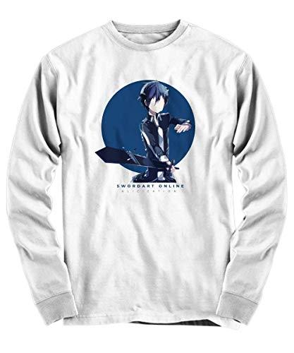 Yinz Hombre Long Sleeve Shirt Sword Art Online Impresión del patrón Blanco Small