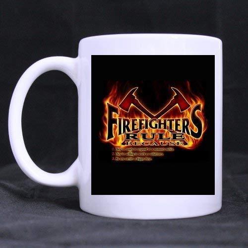 Kerstmis/Thanksgiving Day Cadeaus FD, Brandweerman Embleem, Fire Rescue, Fire Department Design Thee Of Koffie Of Wijn Cup 100% Keramische 11-Ounce Witte Mok