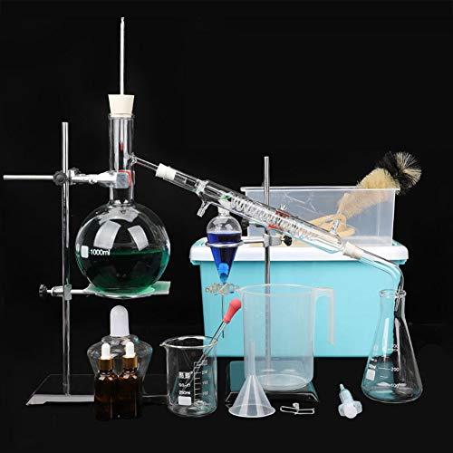TTSUAI 1000Ml Labor Ätherisches Öl Destillationsgerät Wasserfilter Destille Glaswaren Kits W/Werkzeug Fall Kondensator Rohr