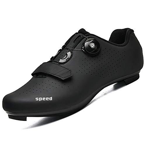 AGYE Scarpe da Ciclismo Uomo Scarpe da Ciclismo su Strada da Uomo Scarpe da Bicicletta Leggere E Resistenti allUsura Scarpe da Bici da Spinning Professionali Non Bloccabili,Black-36