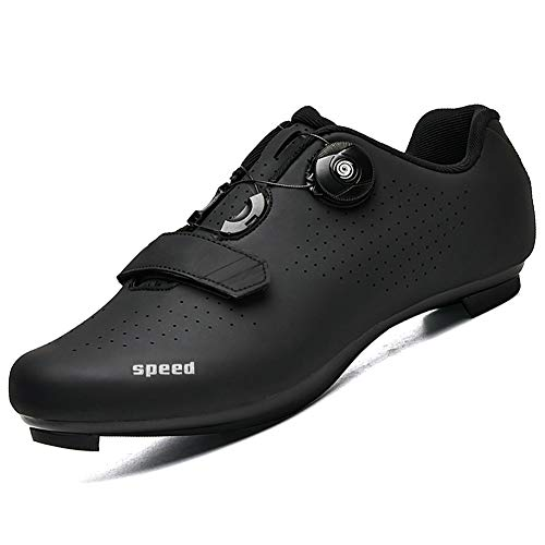 Scarpe da Ciclismo per Uomo Donna Scarpe da Ciclismo su Strada Scarpe da Equitazione Fibbia Rotante per Scarpe Tacchetta Traspirante all Black43