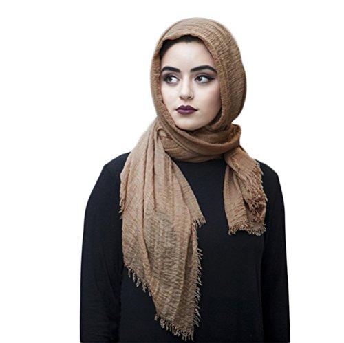 SAFIYA SAFIYA - Hijab Kopftuch für muslimische Frauen I Islamische Kopfbedeckung 75 x 180 cm I Damen Gesichtsschleier, Schal, Pashmina, Turban I Baumwolle - Beige