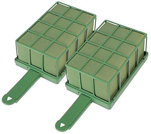 com-four 2x compuesto enchufable para arreglos florales con soporte y rejilla - espuma floral para flores frescas - esponja para hacer manualidades para bodas y cumpleaños (2 piezas)