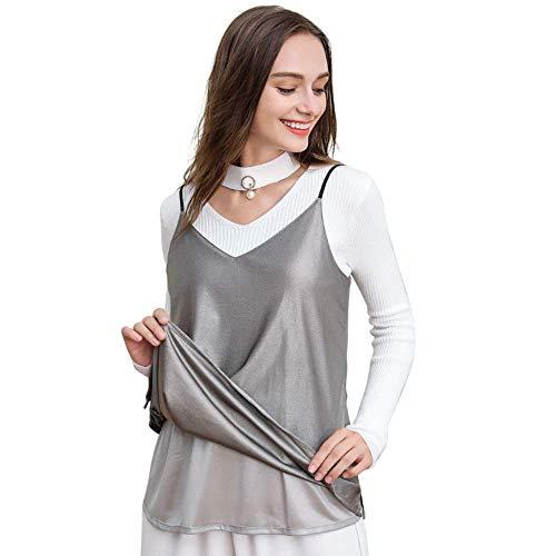 CHUNHUI Strahlenschutz Umstandskleid, 100% Silber Fiber Baumwolle Material, Schwangere Frauen-Spitze Schürze, elektromagnetische Wellen Schutzkleidung, 360 ° Abschirmung Strahlung, Silbergrau mit V-Au