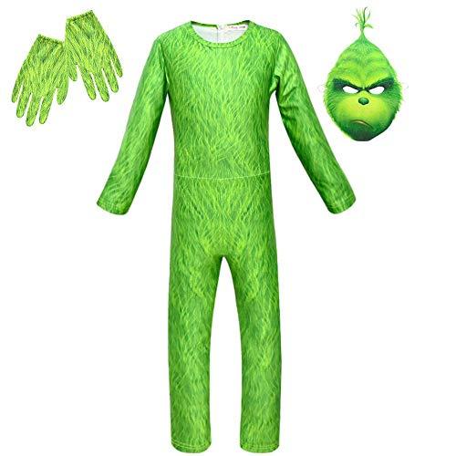 KIDSCOSPLAY Niños Niños Cosplay Monstruo Verde Uniforme Grinch Traje Halloween Partido Tema Cumpleaños Green C-140