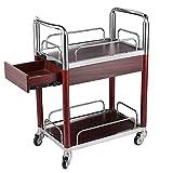 Massivholz Buffet Cart Lagerung 2 Tier Edelstahl Servierbar Trolley Schubladen Hotel Bar Servierwagen Räder Griff